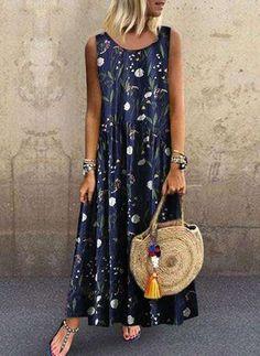 2019 Women's Dresses Plus Size Bohemian O-Neck Floral Print Dress feminine Summer Vintage Sleeveless Long Maxi Dress vestidos Women's Fashion Dresses, Casual Dresses, Summer Dresses, Loose Dresses, Printed Dresses, Sleeveless Dresses, Summer Maxi, Vacation Dresses, Women's Dresses
