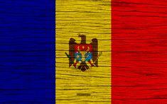 Download wallpapers Flag of Moldova, 4k, Europe, wooden texture, Moldavian flag, national symbols, Moldova flag, art, Moldova