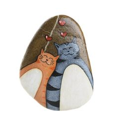 Cats in love, painted rock, hanging stone, grey cat, orange cat Rock Painting Ideas Easy, Love Painting, Hand Painted Rocks, Painted Stones, Photo Chat, Rock Decor, Grey Cats, Rock Crafts, Pebble Art
