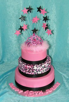 pink and leopard princess cake