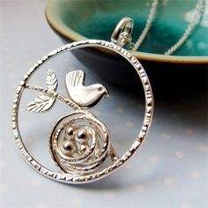 Bird & Nest in circle - handmade in Sterling silver by Angelwing Jewellery