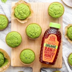 These make-ahead, fluffy and delicious bites are green with spinach, but a drizzle of pure honey is sure to distract even the pickiest eaters. Honey Recipes, Baby Food Recipes, Whole Food Recipes, Snack Recipes, Dessert Recipes, Cooking Recipes, Health Recipes, Healthy Sweets, Healthy Baking
