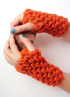 SALE New Crochet Fingerless Glovesorange glovesCrochet by seno, $25.00