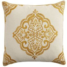 Go for the gold. With its scrolling floral pattern and honey-hued embroidery, our oversized, cotton-blend medallion pillow is a real winner. It's finished with a corded trim, and the solid reverse side features a hidden zipper. Pair it with solid or patterned pillows, or let it stand alone in all its gilded glory.