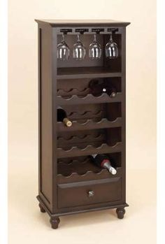Regency Wood Wine Rack Cabinet W/ Glass Holder Barware