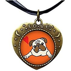 GiftJewelryShop Bronze Retro Style Pug Dog Heart Lover Moom Star Pendant Charm Necklaces