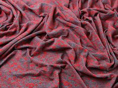 Flock Animal Print Stretch Jersey Dress Fabric Red on Grey Minerva Crafts, Fabric Houses, Grey Fabric, Fabric Patterns, Dressmaking, Fabric Design, Fabrics, Animal, Red