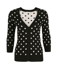 This classic button front cardigan is perfect in a black and white polka dot print. Pair this item over a blouse or cami for work or wear it open over a comfortable tee everyday