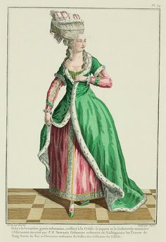 Galerie des Modes, 17e Cahier, 1ere Figure  Robe à la Levantine trimmed in ermine; coiffure in Creole style.  The petticoat and undervest, called à l'Assyrienne, invented by P. N. Sarrazin, Costumer-in-ordinary to Nosseigneurs the Princes of the Blood, brothers of the King and Director-in-ordinary of the Costuming of the Colisée. (1779)