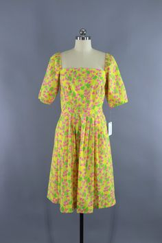 108ac81363 Vintage 1960s Lilly Pulitzer Dress   60s Lilly Day Dress   The Lilly    1970s Sundress   Yellow Floral Print