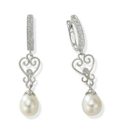 Dangling 14k White Gold Pearl and Diamond Hoop Earrings