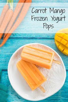 Carrot Mango Frozen Yogurt Pops - A healthful frozen novelty kids will love. Add a splash of rum for the adults! | foxeslovelemons.com