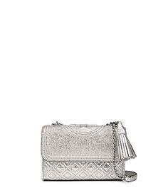 TORY BURCH FLEMING METALLIC SMALL CONVERTIBLE SHOULDER BAG. #toryburch #bags #shoulder bags #leather #metallic #
