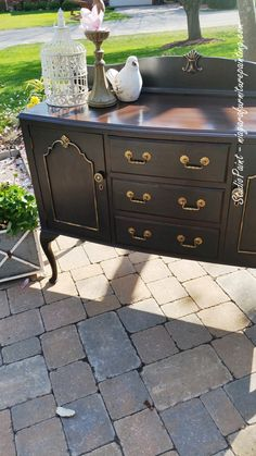"Refinished Black Buffet ""Edward"" $525 - Studio Paint"