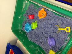 Moonsand  Recipe: Sandbox sand 1/2 a bag ( I used Crayola colored sand) 1/2 of a bag of all purpose flour  One bottle of baby oil  Mix together.. Texture is EXACTLY like commercial moonsand and it smells fantastic!
