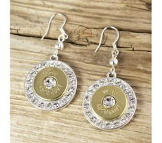 Fire & Ice Nickel 45-70 Bullet Earrings.   Is it the bullet or the BLING that is to love about these earrings??!!!!