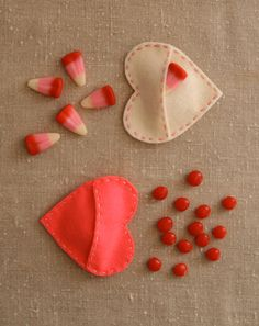 Creative: Eleven Cute Handmade Valentines  Cute & easy to make > Felt Candy Hearts at the purl bee