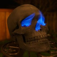 Human Fire Pit Skull Gas Log for Wood Fireplace