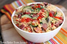 Creamy Orzo with Sausage and Vegetables - Tastes Better From Scratch