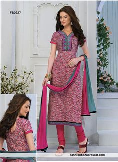 Pink Cotton Embroidery Work Churidar Suit