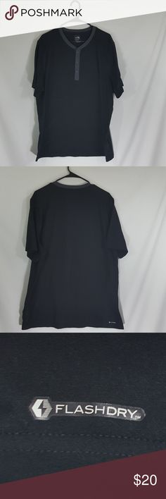 The North Face Men's Button Short Sleeve Tee Shirt The North Face men's button front short sleeved black tee shirt with gray trim.  The size is XXL.  Made of 100% polyester and Flashdry technology.  There is an extra button included.  A nice basic for your wardrobe.  Item #244 The North Face Shirts Tees - Short Sleeve