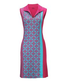 This Hot Pink & Aqua Lattice Sleeveless Polo Dress by Bette & Court is perfect! #zulilyfinds