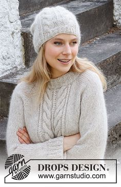 Easy Sweater Knitting Patterns, Cable Knitting, Knitting Stitches, Knitting Designs, Knit Patterns, Free Knitting, Drops Design, Drops Kid Silk, Sky E