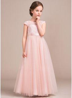 Corte A/Princesa Escote redondo Hasta el suelo Tul Encaje Vestido de Damita de…