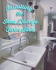 Ikea domsjo double sink install review how we installed our ikea domsjo sink into white shaker kitchen cabinets quartz counters non ikea kitchen