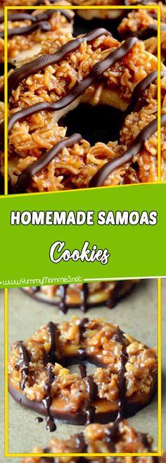 Homemade Samoas Cookies Via #yummymommiesnet #cookies cookies recipes easy #copycatrecipe copycat recipe #sundaysupper sunday supper ideas #cake dessert ideas #dessertrecipes dessert recipes easy #desserttable dessert table ideas