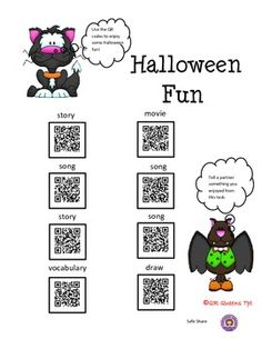 HALLOWEEN FUN WITH QR CODES -Great for centers and early finishers! IPad/iPod/tablet activities! This product is 50% off in our Autumn Bundle using QR Codes! How fun to learn by scanning QR codes! Great for centers with iPads/tablets/iPods. Halloween Fun with QR Codes K-2 $