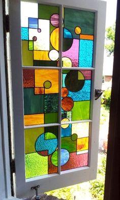 """Custom Made Stained Glass Window /  """"Geometric Splash"""" (W-29)"""