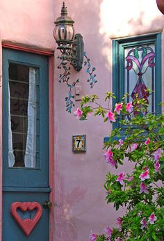 Vintage blue and pink