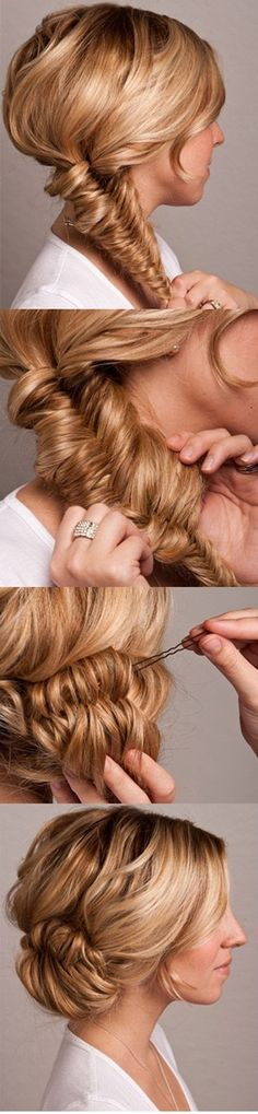 Fishtail Bun Hair Tutorial - at Once Wed- a classsy look for weddings, prom, holidays and other special events! lange Frisuren Fishtail Bun Wedding Hair Tutorial - Once Wed My Hairstyle, Pretty Hairstyles, Bun Hairstyles, Feathered Hairstyles, Beehive Hairstyle, Feathered Bangs, Office Hairstyles, Fashion Hairstyles, Simple Hairstyles