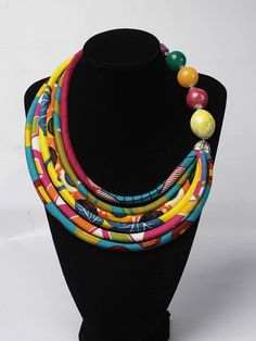 Multicolour African Print Necklace Ethnic Jewelry Fabric