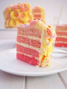 Pink Lemonade Ombre Cake Recipe | www.bellyrumbles.com