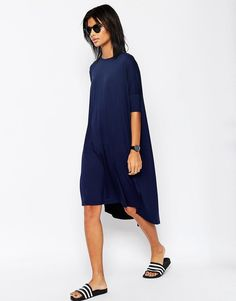 Image 1 of ASOS Oversize T-Shirt Dress With Curved Hem