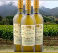 2010 Conundrum California White Wine.  Gorgeous aromas of apricot, honeysuckle, vanilla, and lime zest enhance a deeply-flavored palate of tropical fruit, peach, pear and honeydew melon. The complexity of this wine is brought into balance with a rich, round, soft texture; fresh, supportive acidity; and a stunning, satisfying finish.