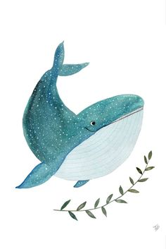 Happy whale Art Print by tinavandijkart Watercolor Illustration, Watercolor Paintings, Baby Illustration, Animal Drawings, Cute Drawings, Cartoon Whale, Whale Art, Wale, Watercolor Animals