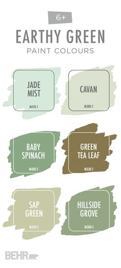 This earthy green colour palette from BEHR® Paint is full of soothing natural colours. Explore light colours like Jade Mist and Cavan or choose between deep olives like Baby Spinach and Hillside Grove. These earth-toned hues are perfect for creating a modern yet rustic look in your home. Click below to learn more.