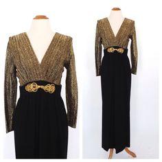 Vintage 1960s 1970s Diva Gown Metallic Gold Lame 70s Maxi Dress Long Sleeve Hostess Dress Motown Disco Diva 1930s Art Deco Dress Size Medium