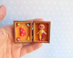 OOAK miniature tiny Jewelry in wooden Box. by YuliyasOOAKdolls