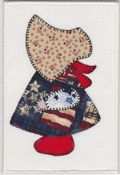 Patriotic Sue Fabric Postcard by zizzybob on Etsy, $7.00#sunbonnetsue