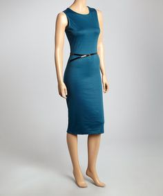 Look what I found on #zulily! Teal Belted Sleeveless Sheath Dress by Analogy #zulilyfinds