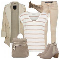 Schönes Outfit aus schlichtem Shirt mit Streifen, beige Jeans und beige Tamaris Stiefeletten.. #fashion #fashionista #inspiration #mode #kleidung #bekleidung #damen #frauen #damenkleidung #frühling #frühjahr #frauenoutfits #damenoutfits #outfit