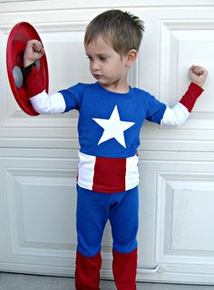 DIY Captain America Costume! I will dress up my little Ray to fit the party well!!!! :D