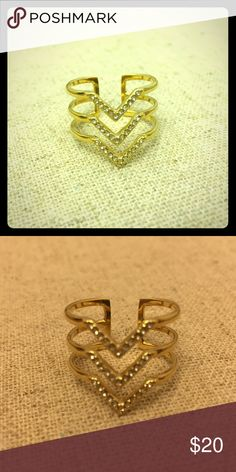 Pavé Chevron Ring Gold Hand-set micro pave chevrons form a delicate geometric everyday ring.   S/M fits ring sizes 5-7  Adjustable for added comfort. Stella & Dot Jewelry Rings
