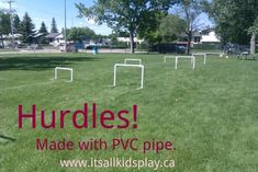 Homemade hurdles made from PVC for the kids. How clever.