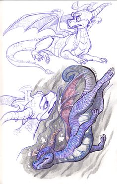 Spyro character, fan art -- Spyro Doodles by DaffoDille on deviantART
