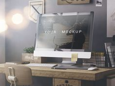 An iMac photorealistic mockup providing smart objects to easily replace your screenshot. Free PSD released by Alex Nikandrov.